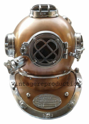 "18"" Antique U.s Navy Mark V Diving Divers Helmet Decorative Item Fully Scow Las"