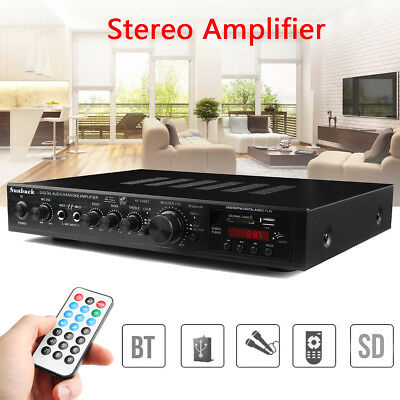 220V 720W 4Ohm FM Verstärker Bluetooth Stereo AV Surround Amplifier+RC Karaoke