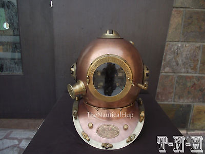 US Navy Mark V Deep Sea Helmet Anchor Antique Scuba Copper Divers Diving Helmet