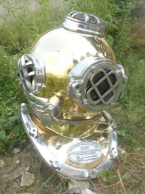 U.S Navy MARK V VINTAGE BRASS DIVING HELMET ALUMNI DIVING DIVERS VINTAGE HELMET