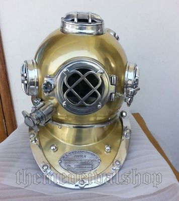 "US Navy Deep Sea Scuba Brass Boston Divers Diving Helmet Mark V Marine 18"" Decor"
