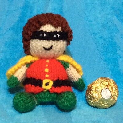 KNITTING PATTERN - Robin from Batman inspired choc cover fits ferrero rocher