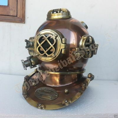 Antique Classic Marine Us-Navy-Mark-V-Solid-Steel-Brass-Diving-Divers-Helmet