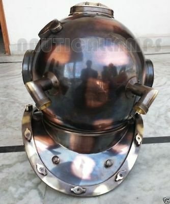Vintage Style Helmet USN MKV Brass Copper Antique Diving Divers Helmet Boston