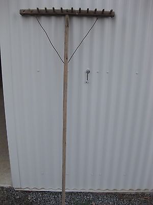 Antique Wooden Hay Grass Rake - Great Character Piece!