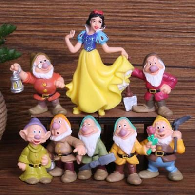 1 Set of 8 Disney Princess Snow White & Seven Dwarfs Figures Toys Cake Decors