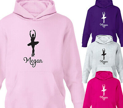 Girls Personalised Ballet Hoodie Pirouette Modern Tap Jazz Kids Gift All Sizes
