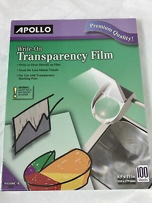 Apollo Write On Transparency Film 8.5 x 11 Inches Clear 100 Sheets New WO100C-B