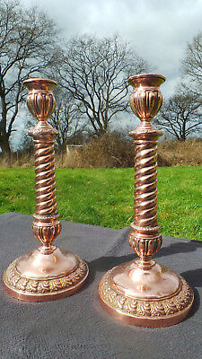 French Candle Sticks Superb Vintage French Copper Classical Pair Solder Repair