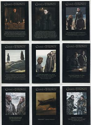 Game Of Thrones Season 7 Complete Quotable Chase Card Set Q61-69