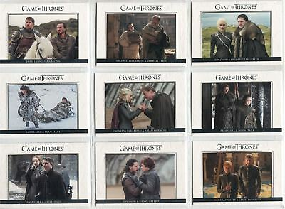 Game Of Thrones Season 7 Complete Relationships Chase Card Set DL41-50