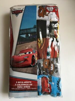 NIP Disney PIXAR CARS Boy's Cotton Briefs Underwear 5 Pair Size 6 New