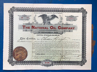 The National Oil Company ~ Stock Certificate ~ 1 Note ~ 1905 ~ Great Quality
