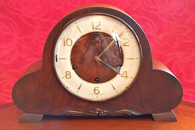 """Vintage Art Deco British """"Smiths"""" 8-Day Mantel Clock with Westminster Chimes"""