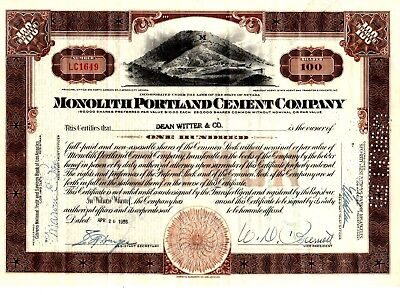 Monolith Portland Cement Company of Nevada 1955  Stock Certificate - brown