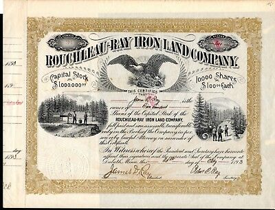 Rouchleau Ray Iron Land Company of Virginia, Minnesota 1893 Stock Certificate