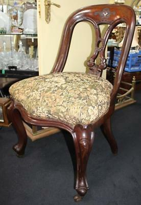 Fine 19th c. Carved Mahogany Upholstered Library Chair
