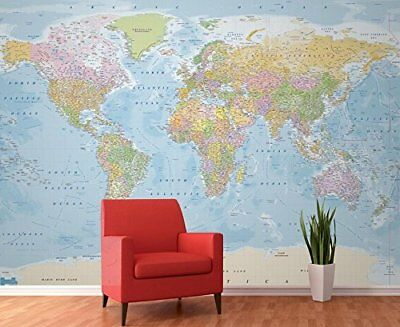 EXTRA LARGE WORLD Map Giant Wallpaper Wall Mural Print 3 15m x 2 32m Globe  New