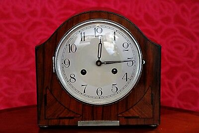 Vintage German 'Foreign' Art Deco 8 Day Mantel Clock with Chimes