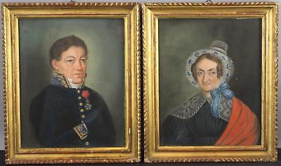 Antique 1839 European Military Officer Wife Folk Art Pastel Portraits Drawings