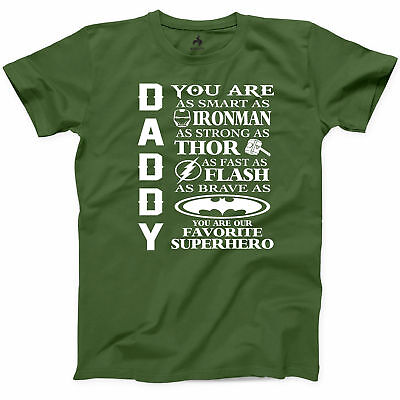 Daddy Super Hero T-Shirt Fathers Day Gift New Father Grandfather Graphic Tee S