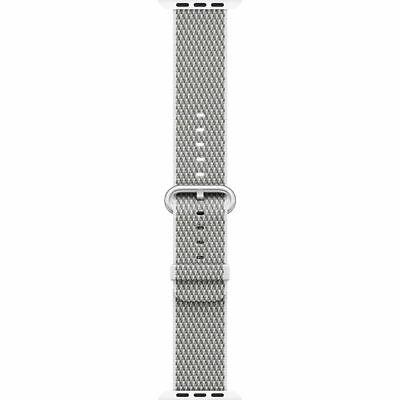 Genuine Apple Woven Nylon Band for Apple Watch 42mm (White Check) - VG - No Box