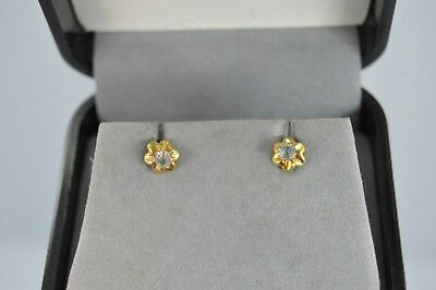 Vintage 14k Yellow Gold AQUAMARINE Floral small Girl's stud Earrings /screw back