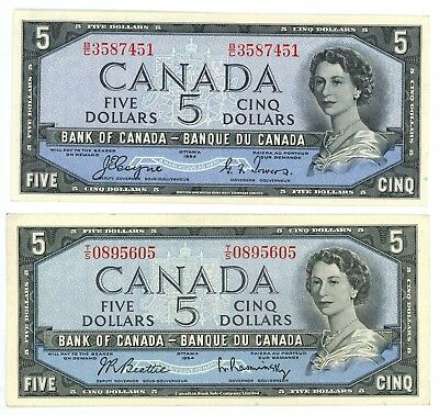1954 Canada $5 Bank Note With & Without Devil's Face Pick# P-68a, P-77b Lot of 2