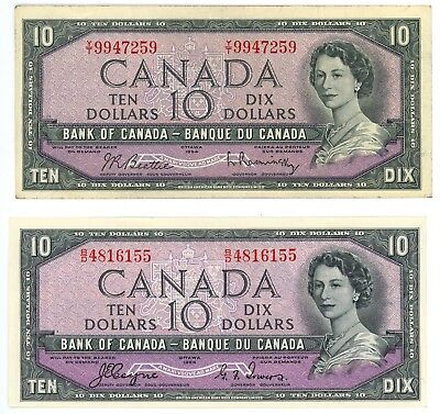 1954 Canada $10 Bank Note With & Without Devil's Face Pick# P-69a, P-79b Lot o/2