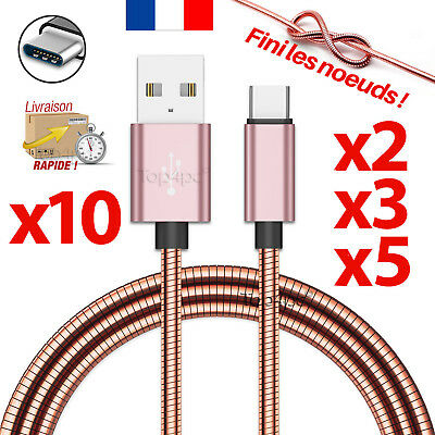 Cable Usb Type-C Chargeur Pour Samsung Galaxy S8 S9 Plus Note 8 Cuivre Rose