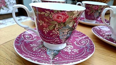 """Set of 6 """"Laura Ashley"""" Possibly Vintage Bone China Tea Cups & Saucers"""