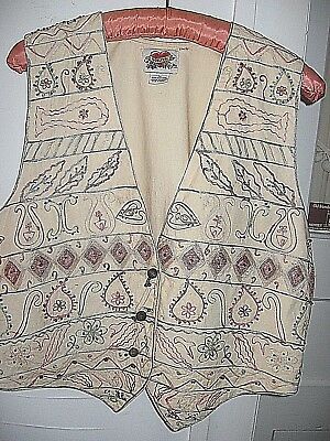 Lovely Vintage 1970 Beaded Cotton Embroidered Ethnic Vest-Sorrel Made In India-L