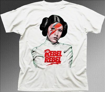 Princess Leia REBEL REBEL Star Wars inspired white cotton t-shirt 9313