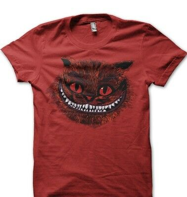 CHESHIRE Cat blue Alice in Wonderland All Mad here Hatter RED t-shirt 9583