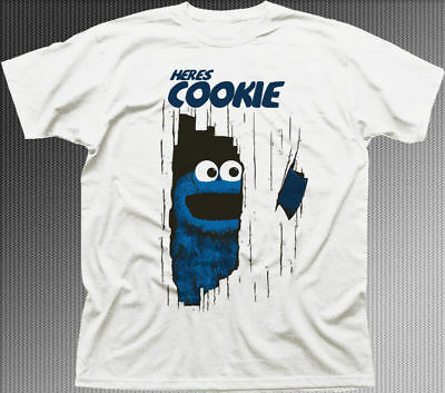 here's Johnny Cookie Monster Muppets The Shining movie white t-shirt 9919