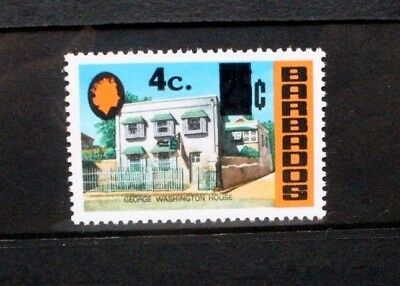 BARBADOS 1969 25c SURCHARGED 4c. Set of 1. Mint Never Hinged. SG479.