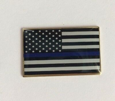 Thin Blue Line USA Flag LAPEL PIN Support Police Blue Lives Matter Made in USA