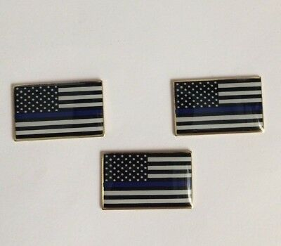 LOT OF 3 Thin Blue Line USA Flag LAPEL PIN Police Blue Lives Matter  *USA MADE*