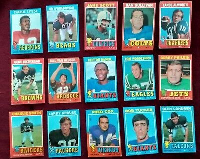 15 x Topps 1971 NFL football cards - Taylor/Alworth