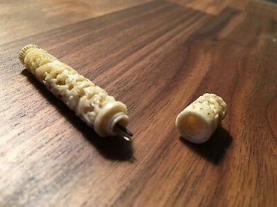 Antique Hand Carved Bone Needle Case | Chinese Export Circa 1850 |