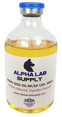 Alpha Lab Supply 100mL Sterile Filtered Grape Seed Oil NF/EP-USP/RBDW