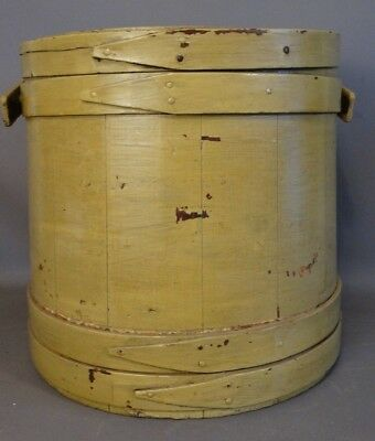 19thC Antique PRIMITIVE Painted COUNTRY FIRKIN Old VICTORIAN Era WOOD Farm PAIL