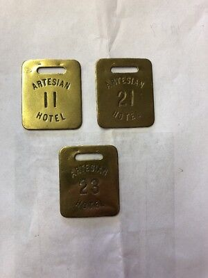 Antique Artesian Hotel Key Fob Tags Brass