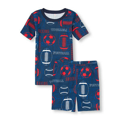 NWT The Childrens Place All Sports Boys Short Sleeve Pajamas Set 8 10 12 14 16