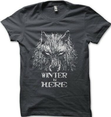 GOT Game Of Thrones inspired WINTER is HERE  grey t-shirt 9625