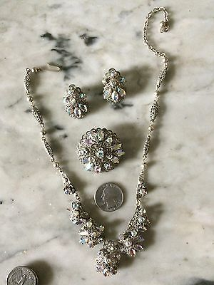 Vtg 1940 western Germany silver tone victorian style  earrings brooch necklace