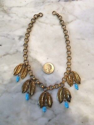 Vintage 1930s MIRIAM HASKELL brass glass beads foliage leaves necklace