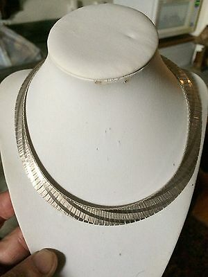 Vtg '1970 Italy sterling silver 925 choker collar modernist Cleopatra necklace