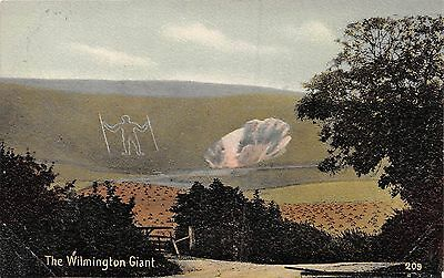 Windover Hill East Sussex Uk Wilmington Giant Painted Rock Postcard1910