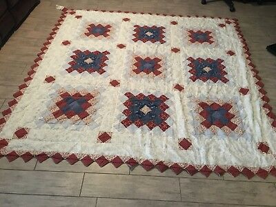 Vintage Blocks Squares Handmade Hand Sewn Quilt Patch Country
